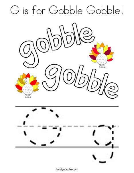 G is for Gobble Gobble Coloring Page - Twisty Noodle ...