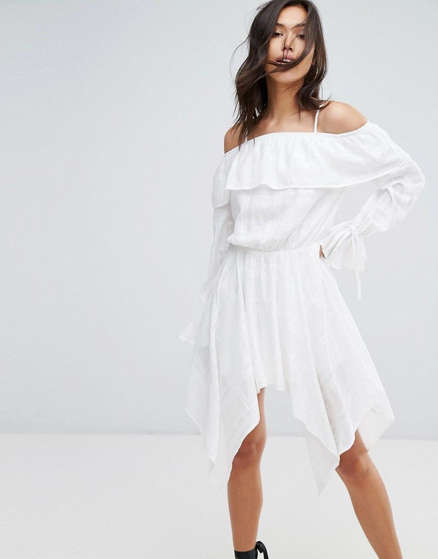 Missguided cold shoulder hanky hem dress white products