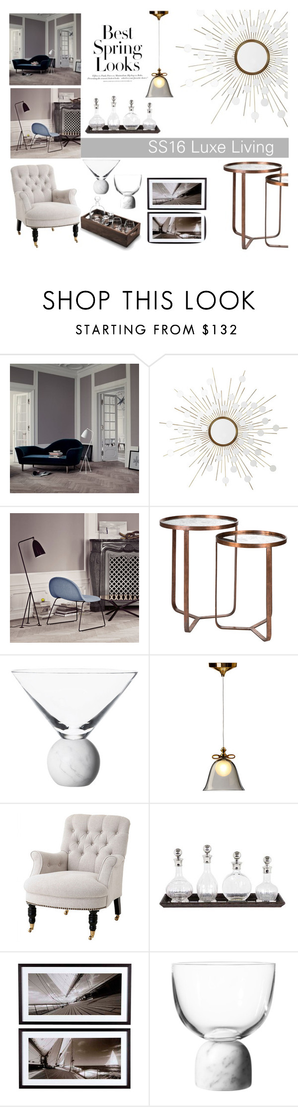 """""""Houseology SS16 Luxe Living"""" by thehouseologists ❤ liked on Polyvore featuring interior, interiors, interior design, home, home decor, interior decorating, Gubi, Eichholtz, H&M and Lee Broom"""