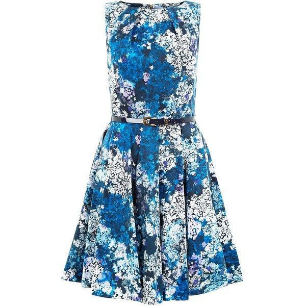 Closet Floral Belted Skater Dress ($79) ❤ liked on Polyvore featuring dresses, sleeveless skater dress, fit & flare dress, blue skater dress, floral print skater dress and floral dress