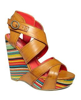4fdbb78bd58 Brown leather sandal with multi-colored wedge heel...Macys