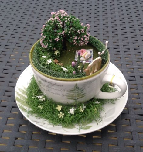 Tea-Cup-Fairy-Garden-Unusual-Gift Fairy Gardens Pinterest Mini