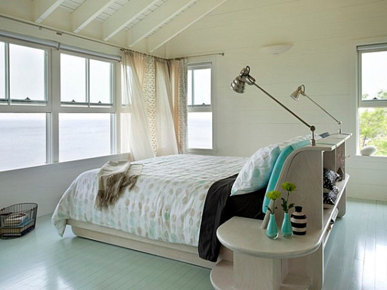 Bed frame with headboard with lights gloss laminate bedroom floor