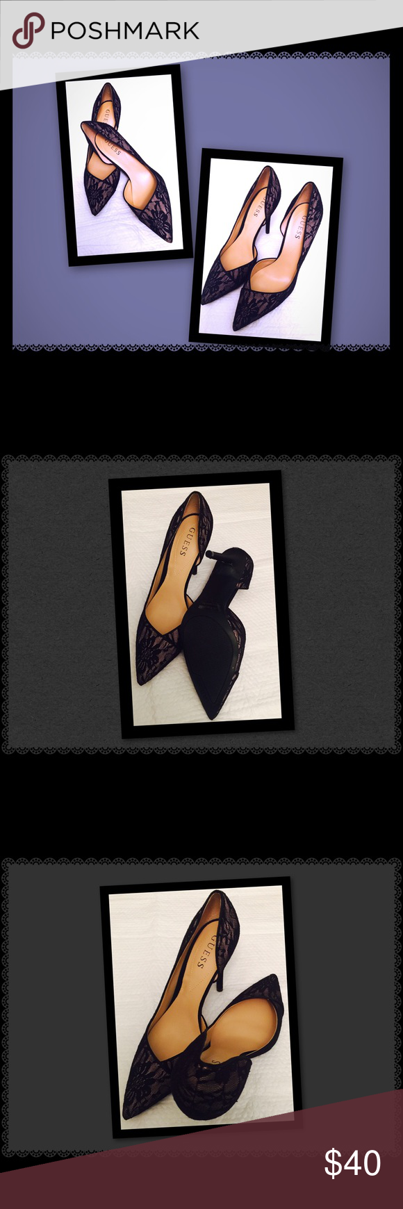 """Guess D'Orsay pumps Black lace over nude. D'Orsay style . Perfect height 4"""" goes with everything , skinny jeans , pencil skirt or a dress. Never worn in original box. Guess Shoes Heels"""