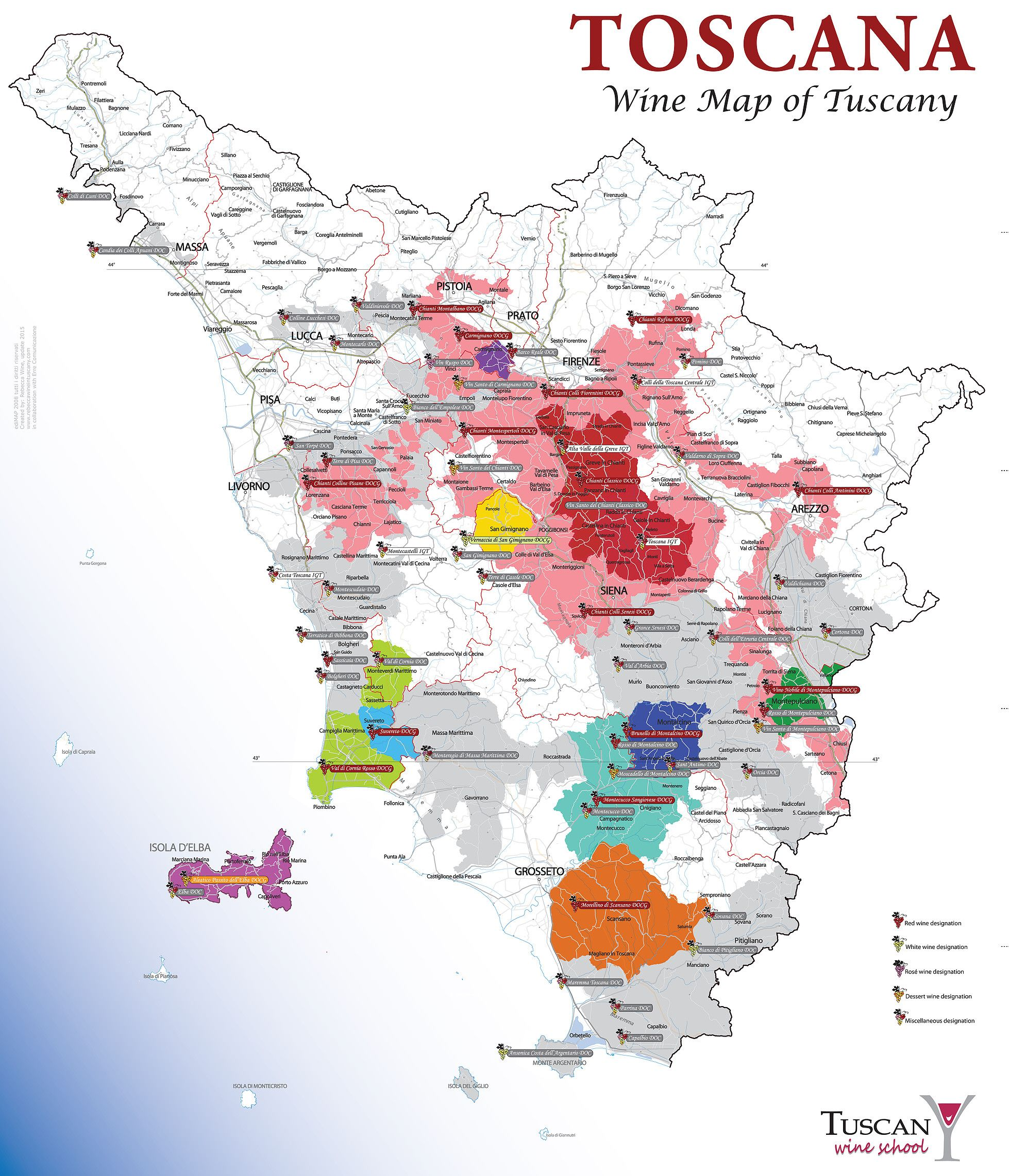 See Our Own Produced Wine Map With The Tuscan Wine Regions Wein