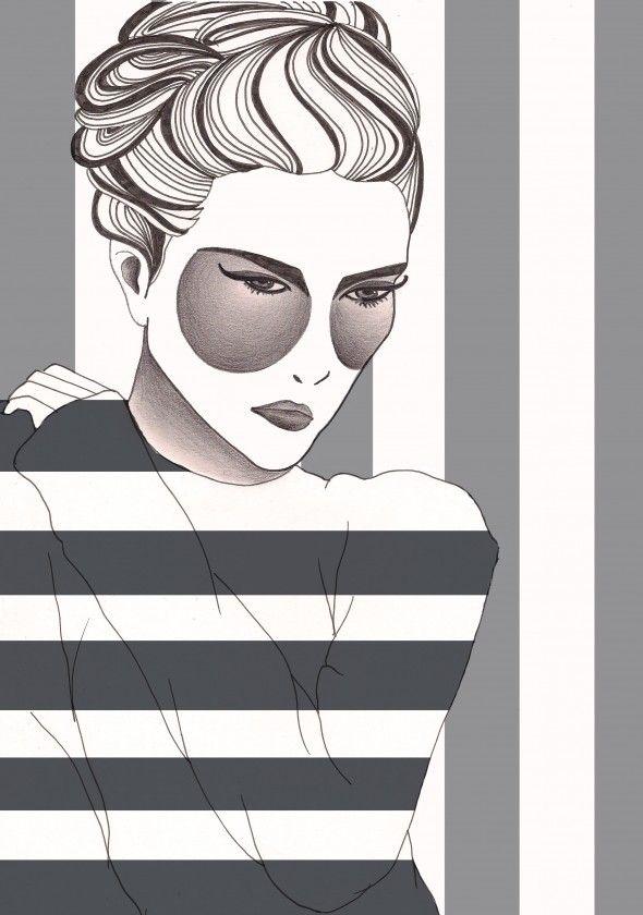 A Stripy Jumper Fashion Illustration by Beckiboos #Fashion art #Illustration