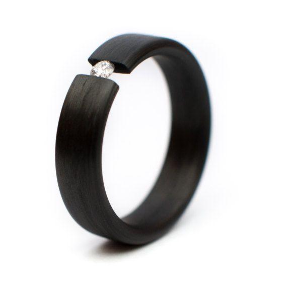 Carbon Fiber Ring Diamond Tension Set Wedding Ring Engagement