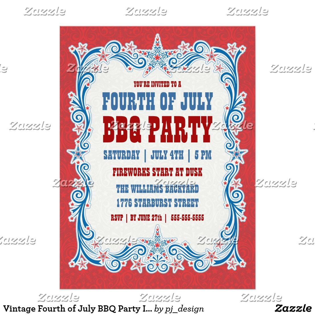 Vintage Fourth of July BBQ Party Invitation   Party invitations