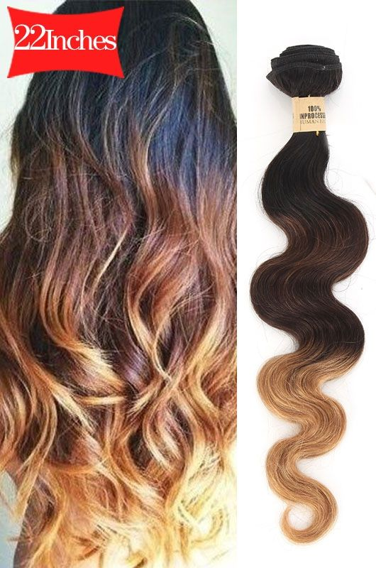 22 Inches Natural Bouffant Wave Multicolor Human Hair Extension