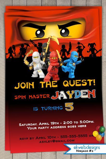 Ninjago Invitation Printable Ninjago Birthday Party Invitation