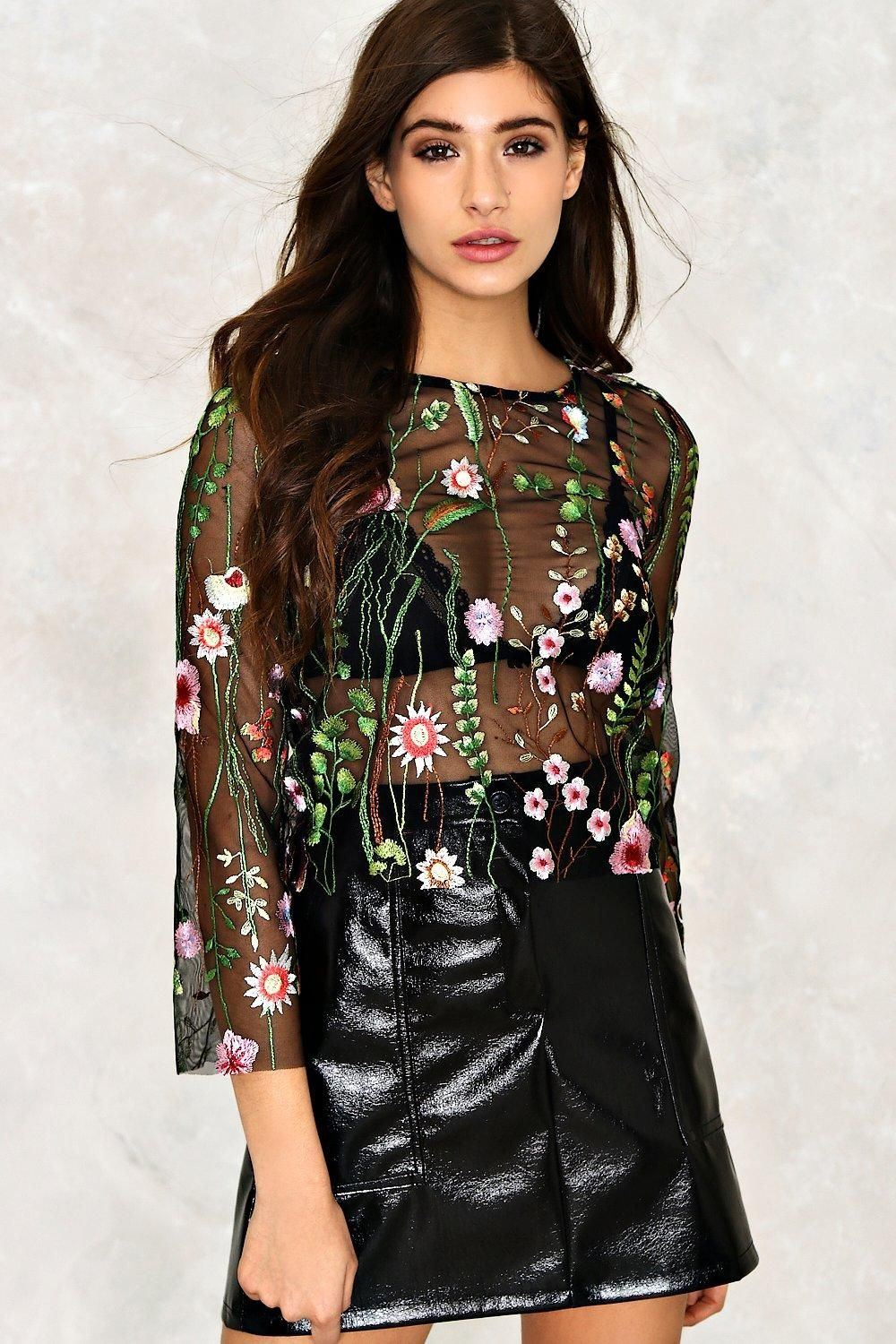 Alice + Olivia dupe - Flirty floral. Breathe extra life into your favorite skirts and denims with our Elsa Embroidered Mesh Sheer Top, a pretty design featuring cropped sleeves, a crew neck, sheer mesh construction and stylish floral embroidery.