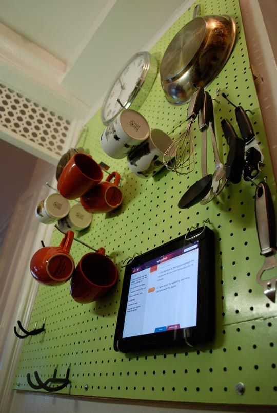 Diy Kitchen Pegboard Ipad Holder Apartment Therapy Unplggd Peg Board