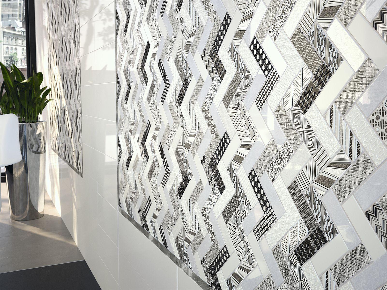 Dune wall tile mosaic ZIG ZAG geometric design black white silver modern