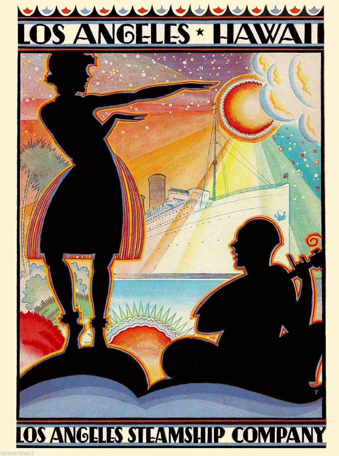 Hawaii Los Angeles California United States America Travel Advertisement Poster   eBay