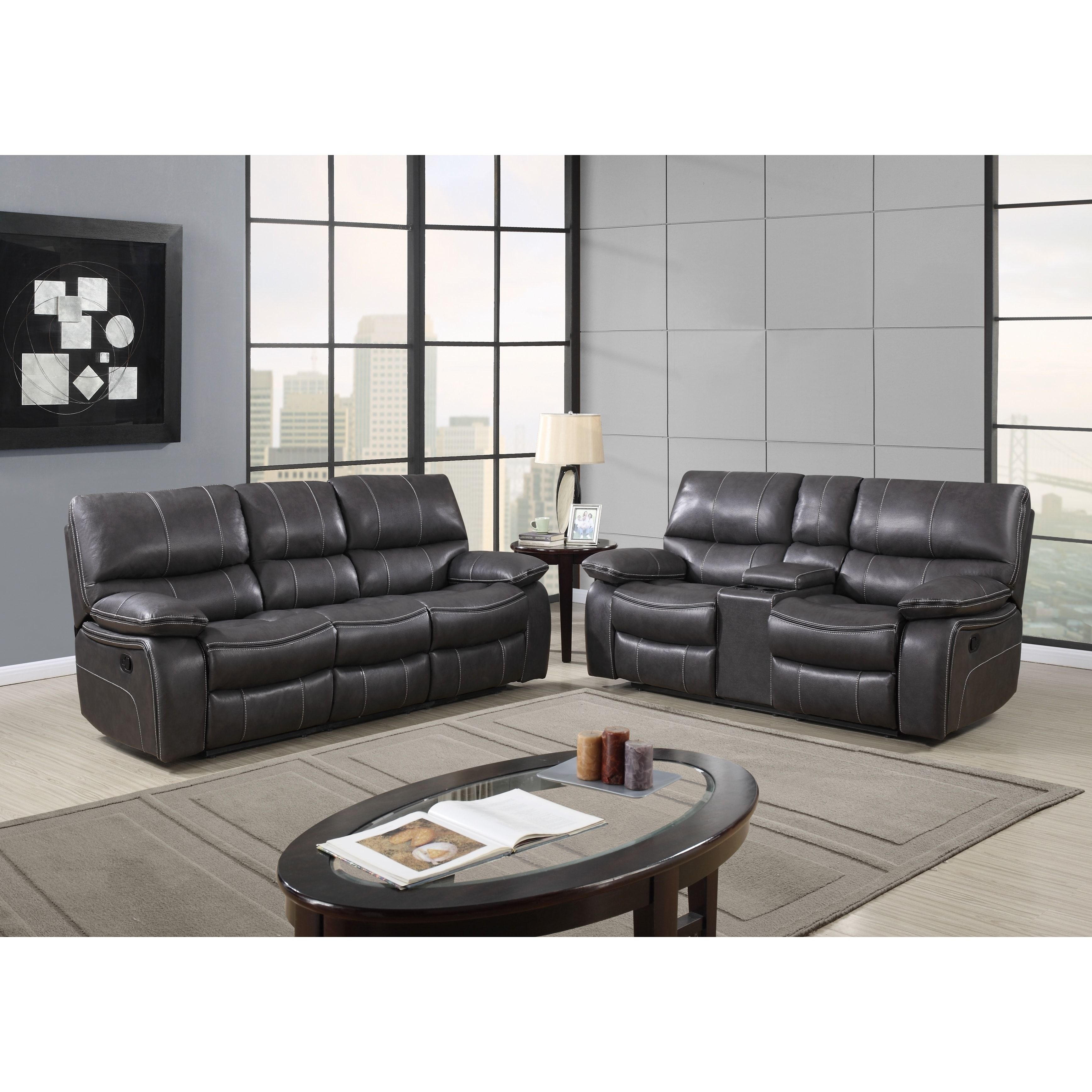 Charming Grey Leather Reclining Sofa | Overstock.com Shopping   The Best Deals On  Sofas U0026
