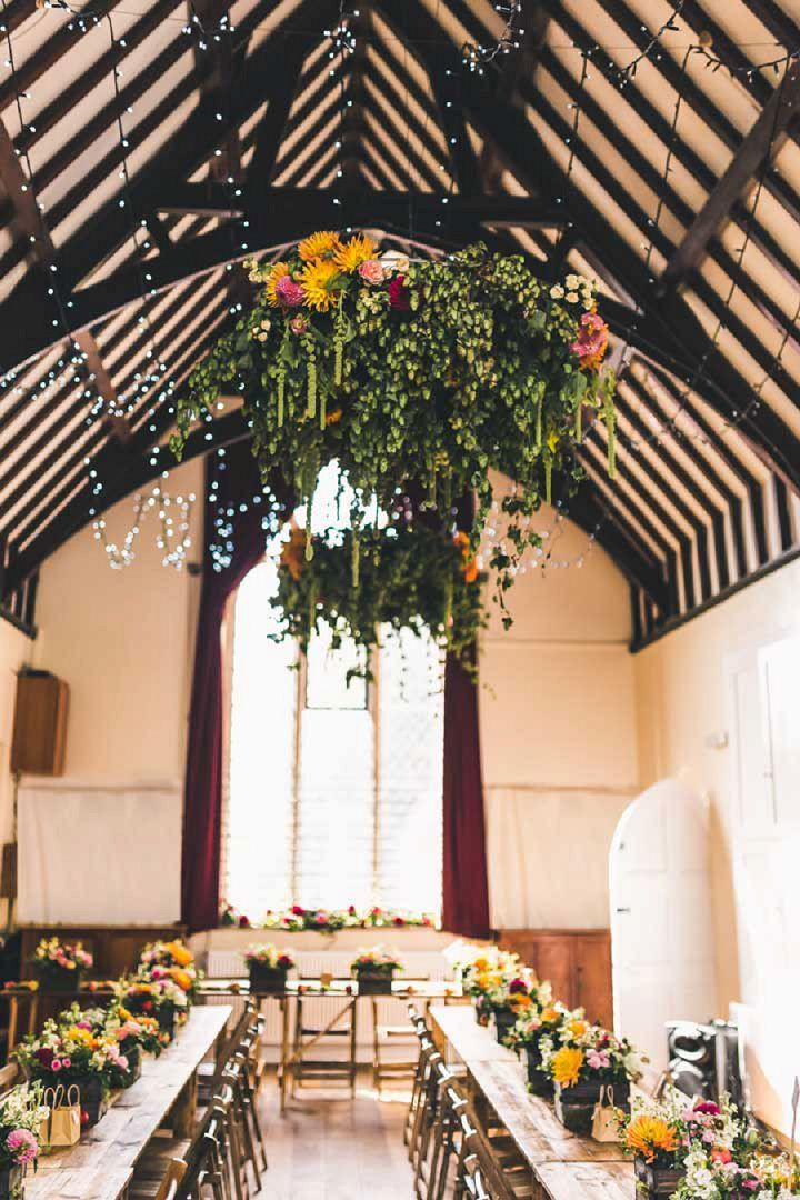 Fabulously Floral Village Hall Wedding With Rustic Apple Crates And