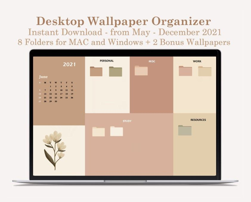 Desktop Wallpaper Organizer For Students Minimalist Wallpaper For School And College 2021 Calendar Folder Icons Included In 2021 Desktop Wallpaper Organizer Desktop Wallpaper Desktop Organization