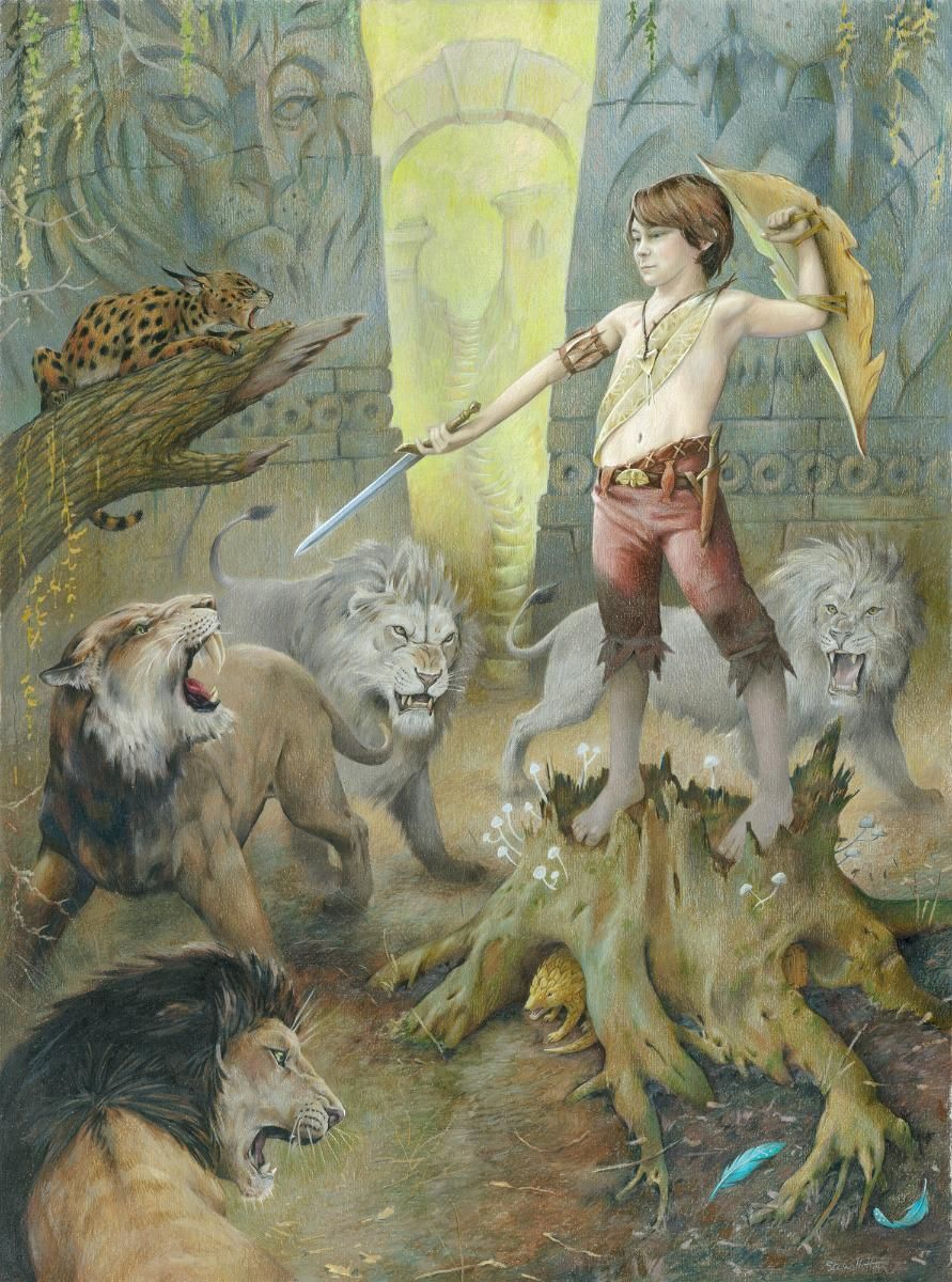 Peter stands before the Lions with his sword. Coloured Pencil on ...