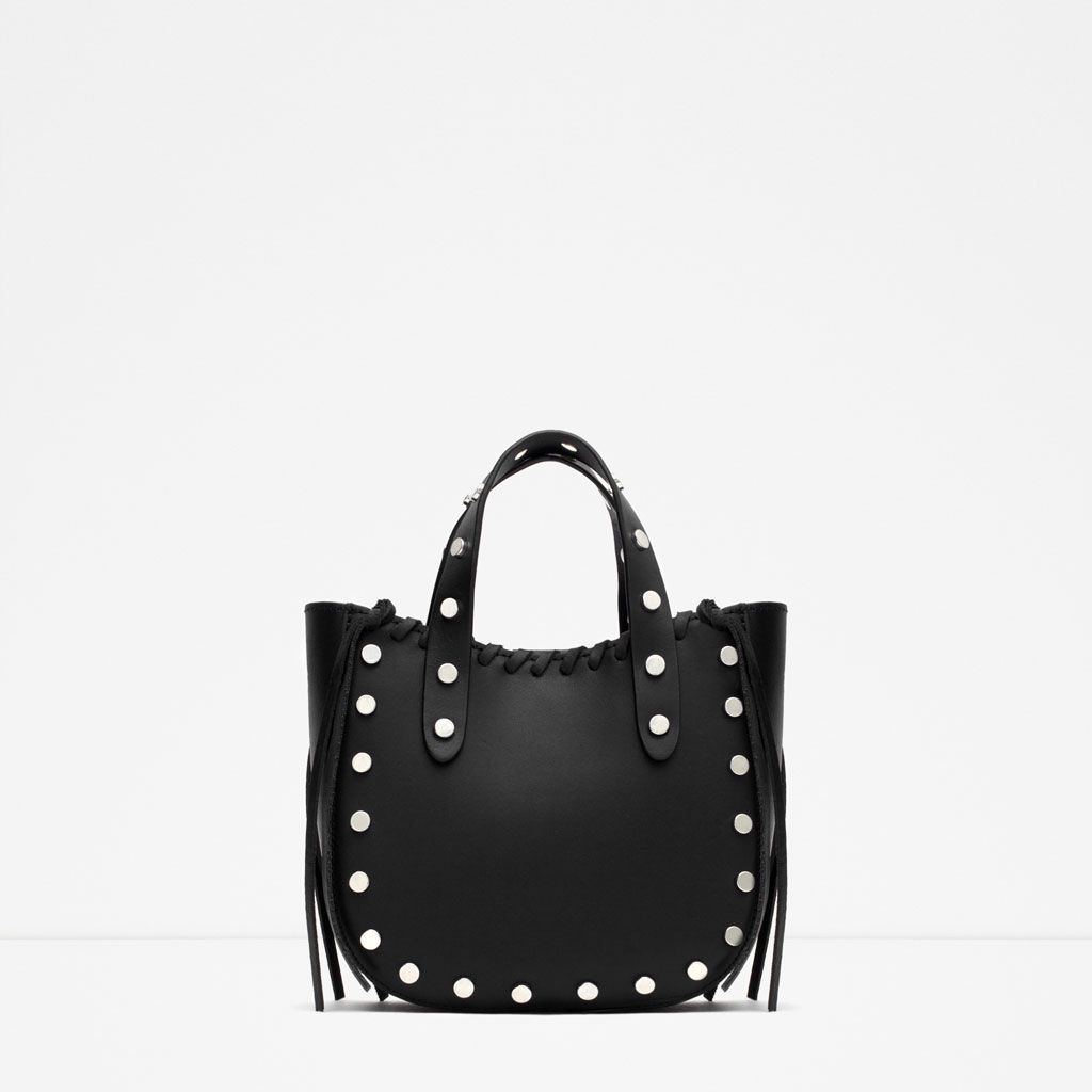Mini leather tote bag zara - Bag Zara Ultimi Arrivi Mini Shopper Pelle Borchie Leather Totesleather