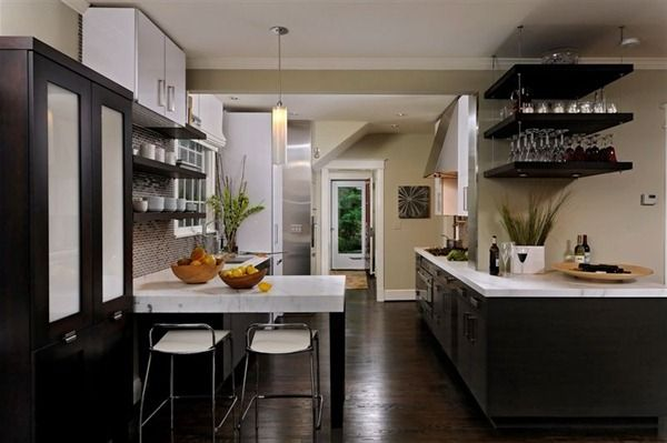 Dark Kitchen Cabinets And Wood Floors