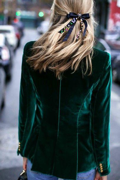 Jacket  tumblr hair bow hair accessory velvet velvet blazer green blazer  blonde hair bow hair 7bbaf480ca6c2