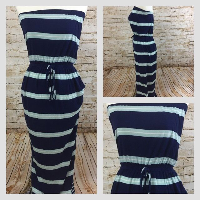 Old Navy Womens Long Blue Striped Strapless Maxi Dress Size XS Pockets Tie Waist #OldNavy #BeachDressMaxi