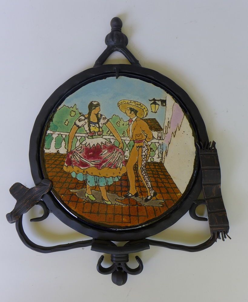 Vintage early california mexican dancers lamosa tile iron for Lamosa tile