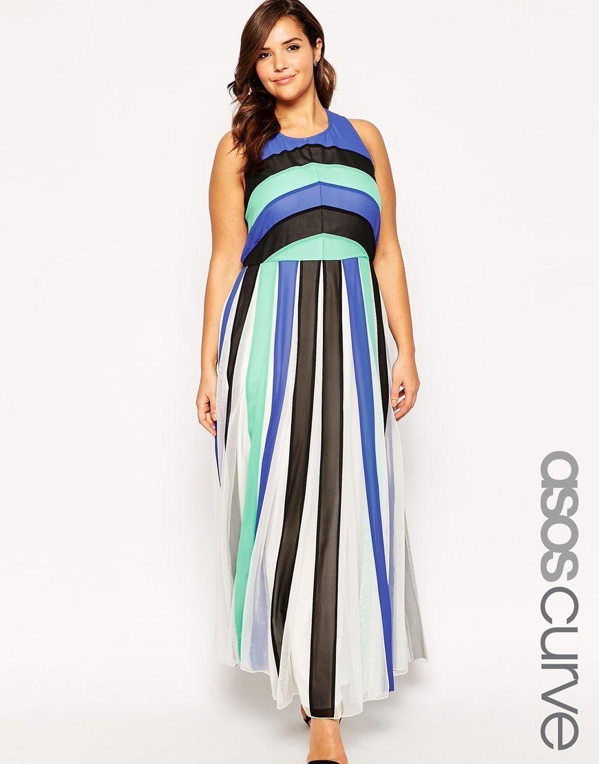 ASOS CURVE Maxi Dress In Colour Block Mesh | Fashion | Pinterest ...