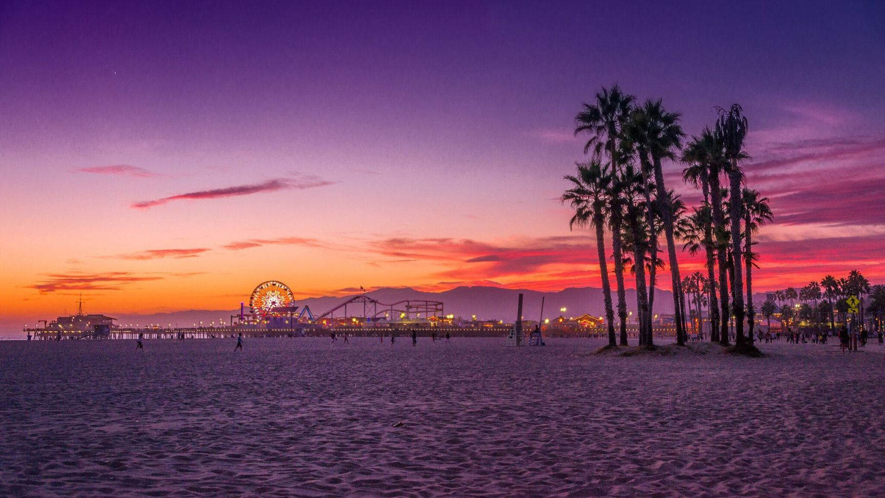 s2wsantamonicabeachscene California wallpaper, Los