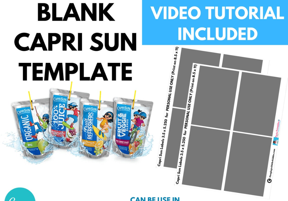Blank Capri Sun Labels Template Capri Sun Mockup Capri Sun Labels Png Canva Silhouette Custom Juice Labels Capri Sun Custom Party Favors Label Templates
