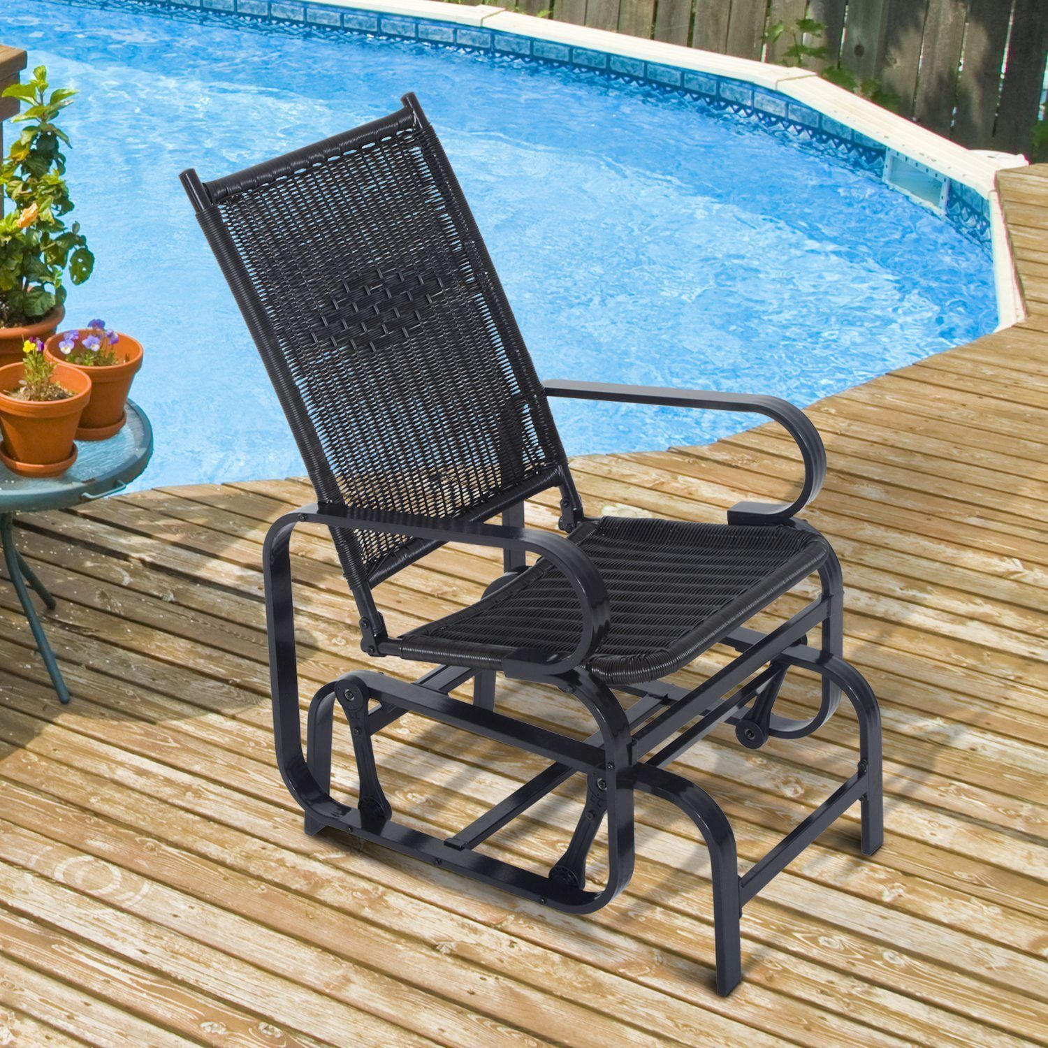 Outsunny Rattan Patio Glider Rocking Chair Swing Seat Wicker Outdoor  Furniture