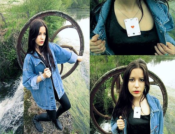 Home Made Necklace Card, Cooker's Blue Jeans Jacket, Dim Black Legging