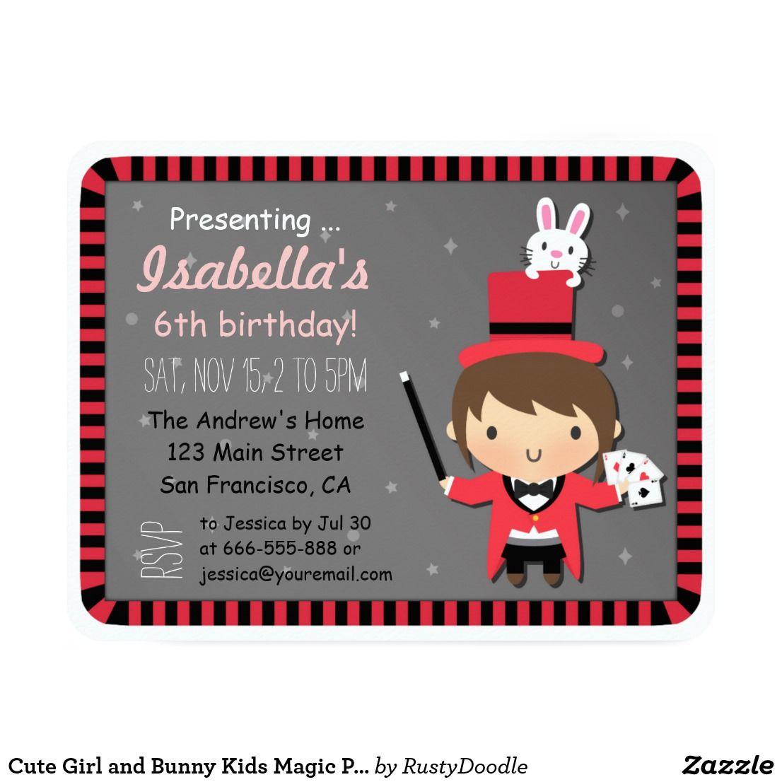Cute Girl and Bunny Kids Magic Party Invitations | Chloe | Pinterest
