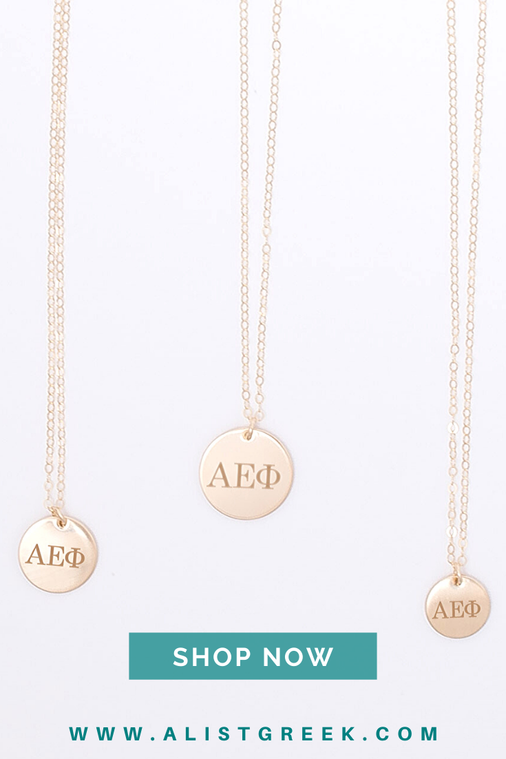 Your AEPhi greek letters have never looked cuter than engraved on this sorority disc charm necklace hand crafted from  With your choice of 5 disc sizes and 4 metal option...