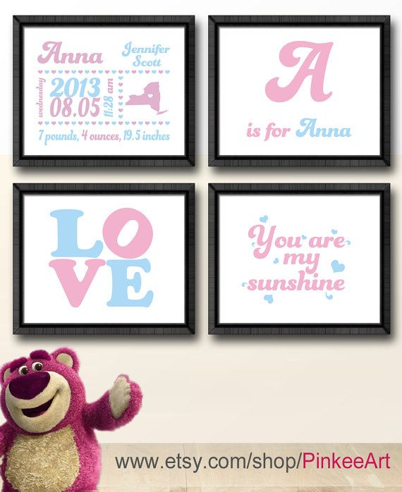 nursery birth announcement, baby announcement, baby shower gift with kids quote love monogram, birth date print, baby birth stats baby stats by PinkeeArt, $29.00