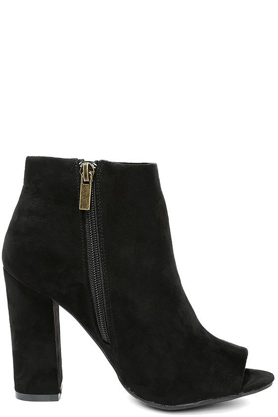 a1d13cbfa76 Means So Much Black Suede Peep-Toe Booties | Must Have | Black ankle ...
