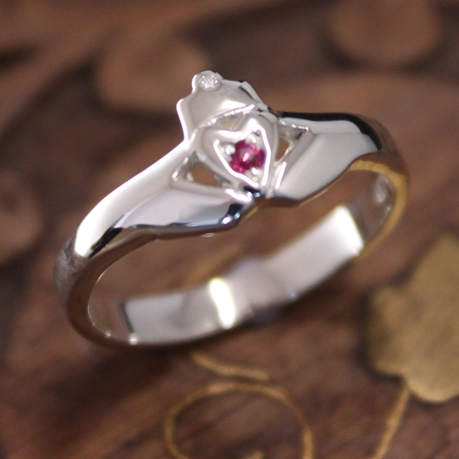 Claddagh ring ladies real diamond and ruby ring irish ring celtic