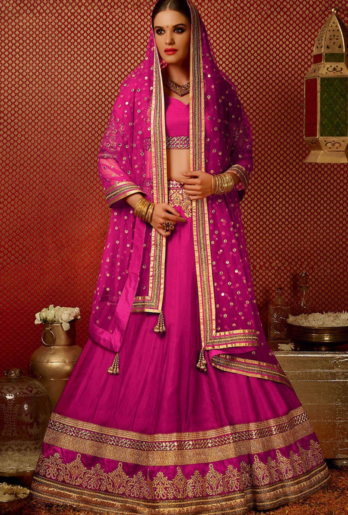 Hot pink designer party wear lehengha
