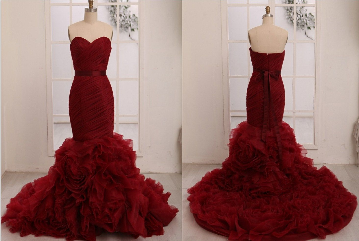 Vera Wang Inspried Wine Red Burgundy Organza Mermaid By