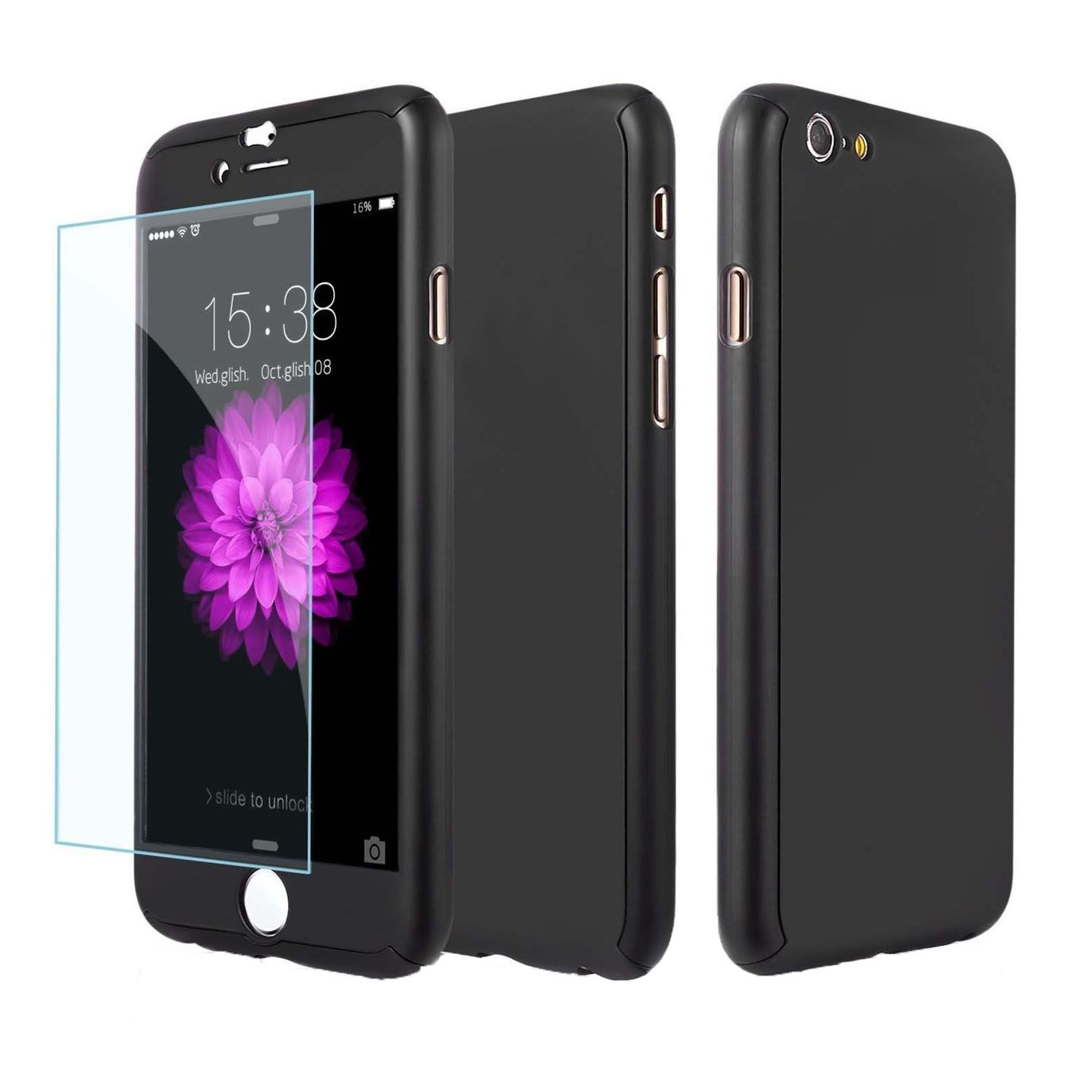 Black hybrid 360 shockproof case covers with tempered