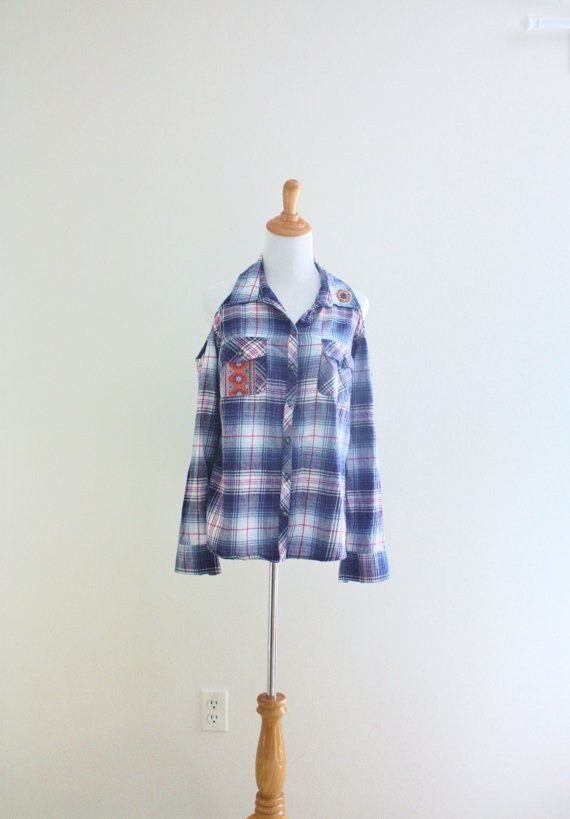 Off the shoulder shirt Cut out plaid shirt Upcycled by SaidoniaEco