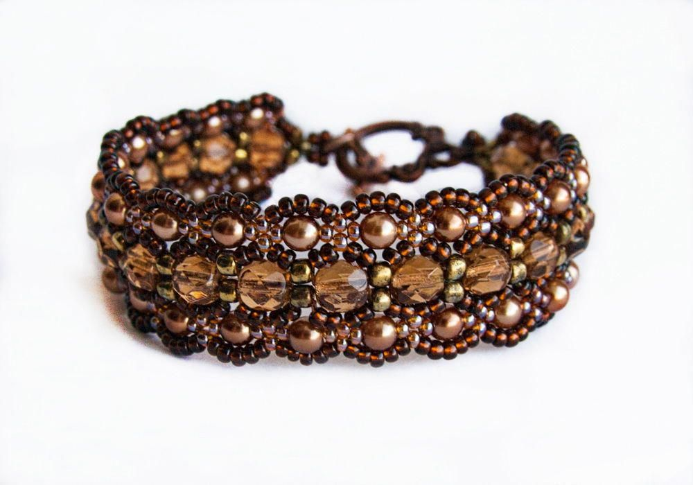Free Beaded Pattern For Bracelet Dark Honey Beads Magic Seed Bead Tutorials Beadedjewelrypatterns