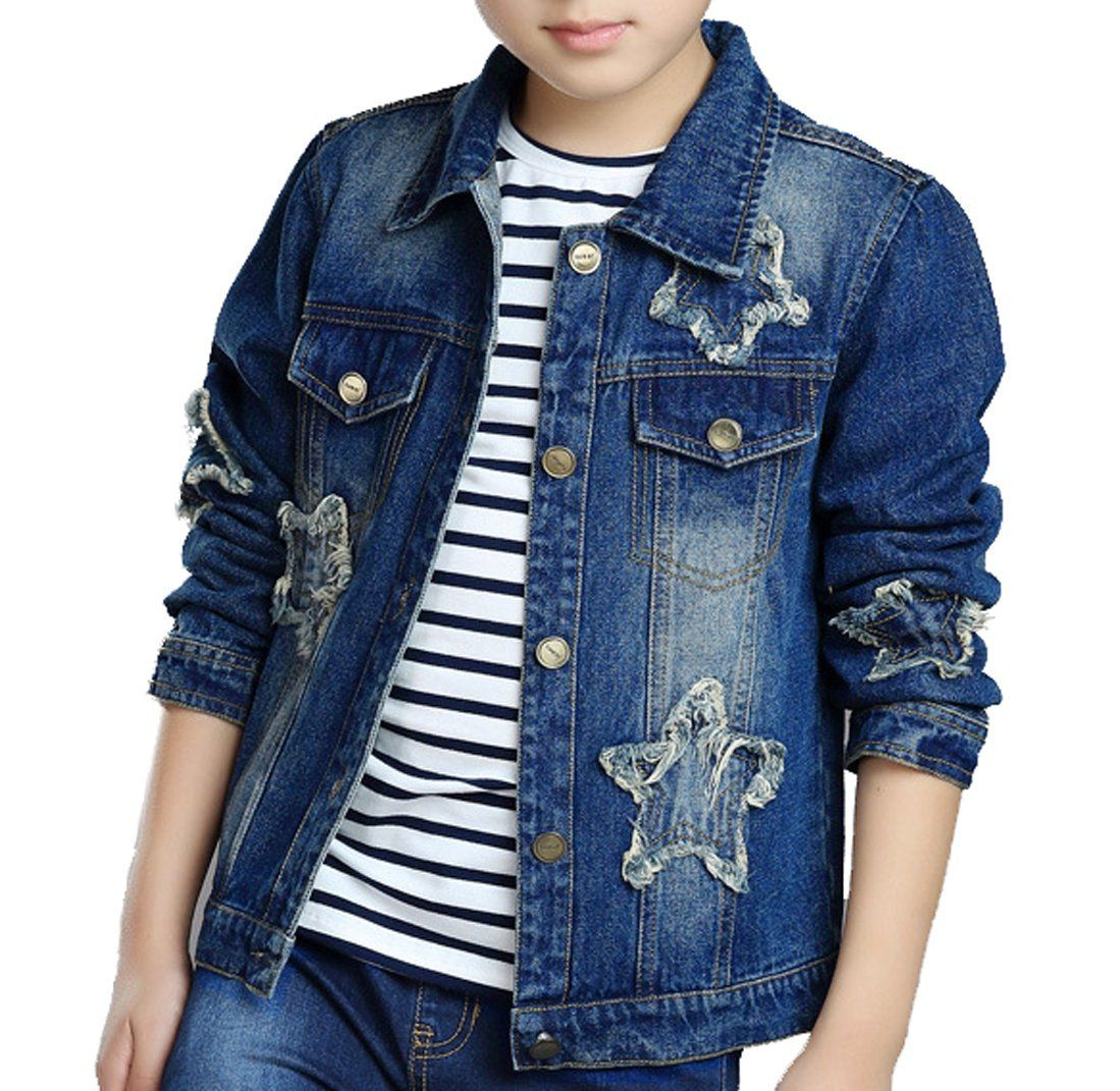 afc832ee64f6 Boys and Girls Unisex Star Patched Distressed Denim Jacket (8). Size ...