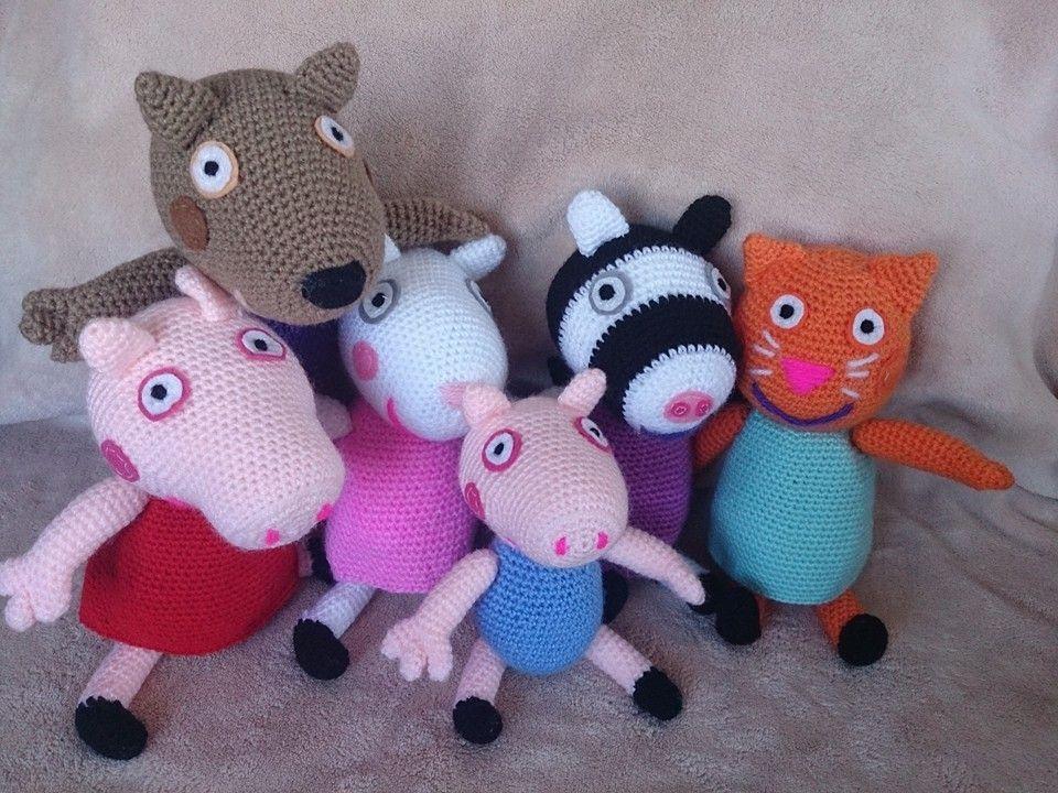 Peppa pig amigurumi : Peppa pig y sus amigos danny dog suzy sheep su hermanito george