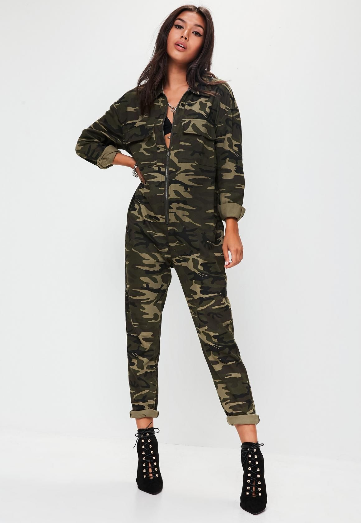 015b1adfada Missguided Green Camo Print Jumpsuit -  57