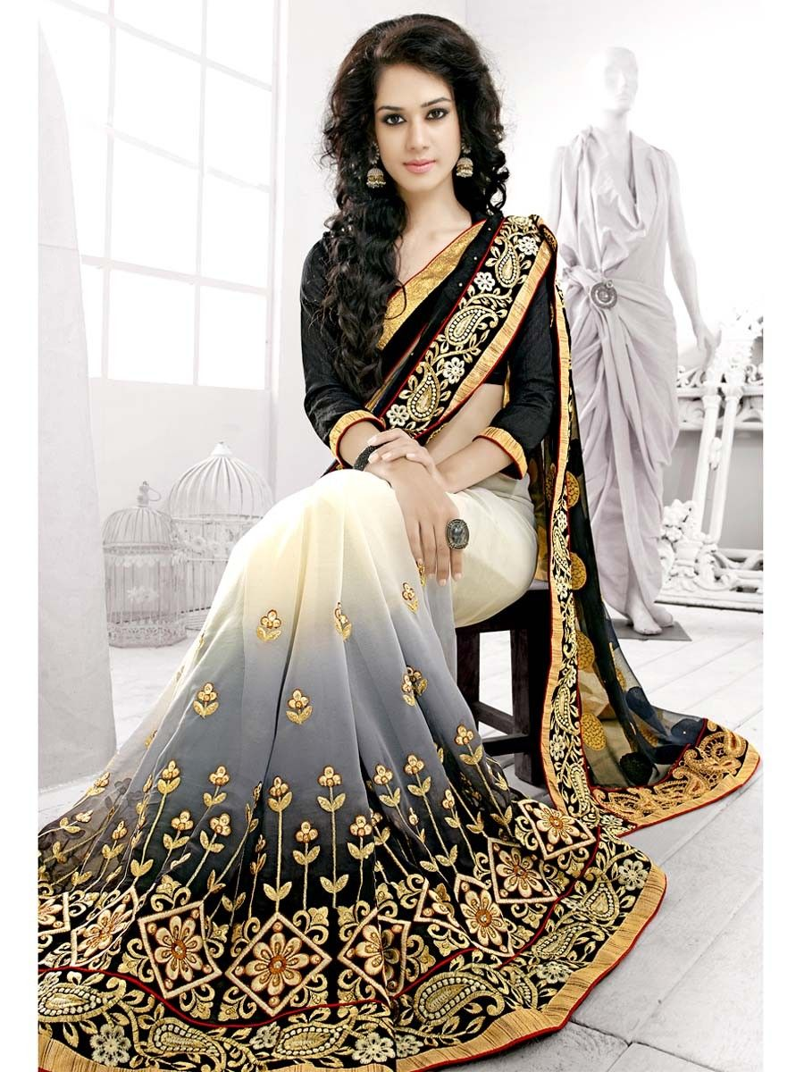 Prodigious off white,black color georgette Saree. Item code : SKL350  http://www.bharatplaza.com… | Party wear sarees, Saree designs, Designer  sarees online shopping