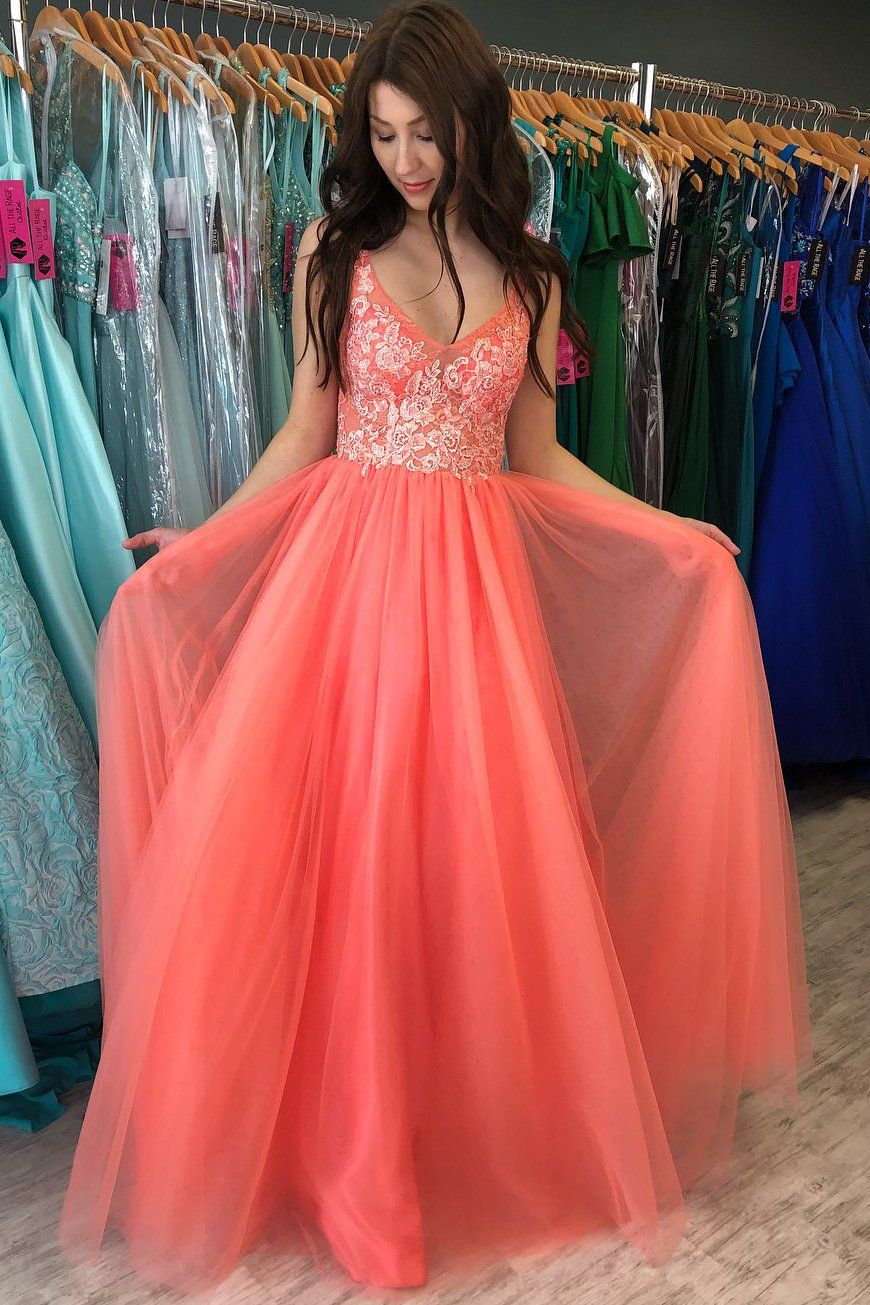 Princess Tulle Long Prom Dress With Appliques Us 6 Custom Color In 2021 Cheap Homecoming Dresses Lace Prom Gown Evening Dresses Prom [ 1305 x 870 Pixel ]
