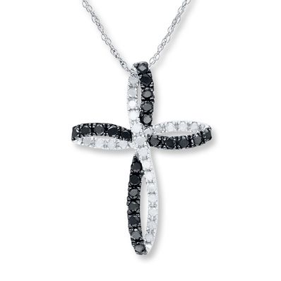 Artistry Diamonds Cross & Infinity Necklace 1/10 ct tw Diamonds Sterling Silver 0mXle0
