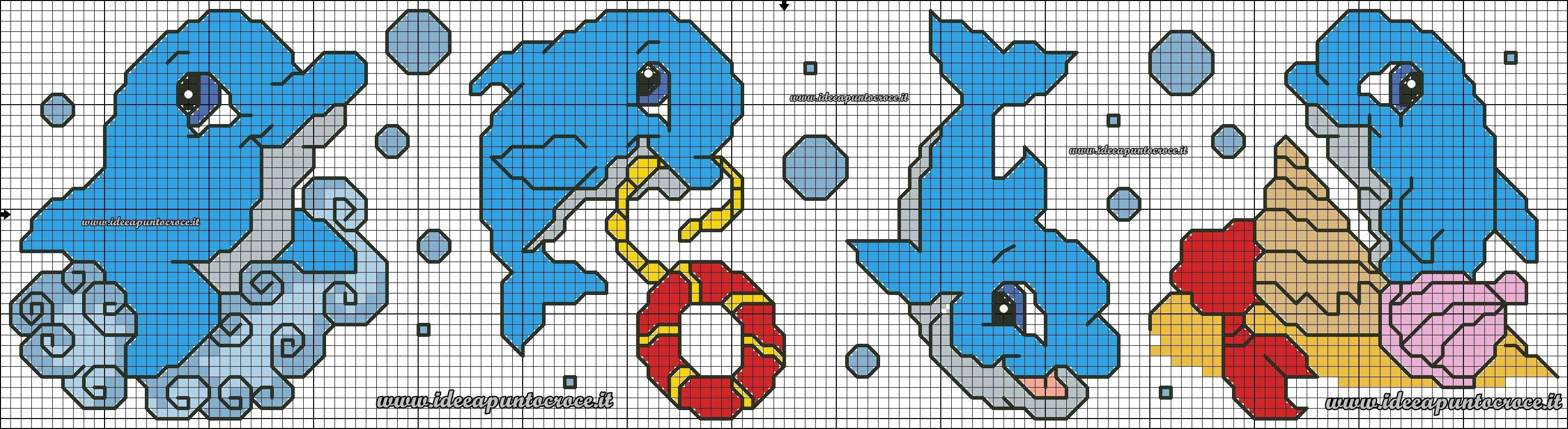 Schema Delfini Punto Croce Children S Cross Stich Embroidery