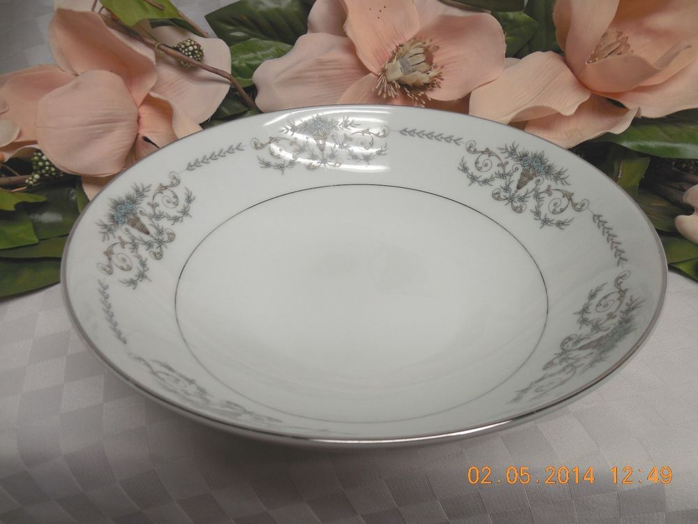Mikasa China Dinnerware Margaret Pattern #5555 Blue Flowers Round Serving Bowl : mikasa dinnerware patterns - Pezcame.Com